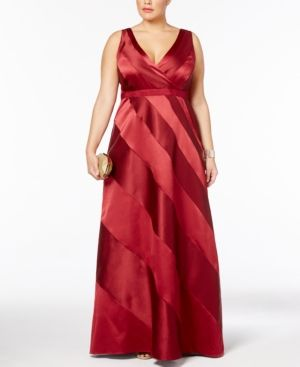 Adrainna Papell Plus Size Satin Striped Ball Gown - Red 16W
