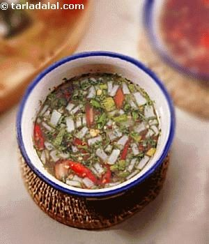 A tangy cucumber relish which could be served with most Thai starters.