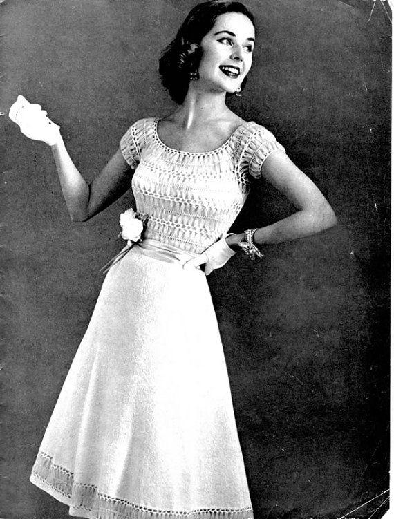 1950's Vintage Knit / Crochet Dress Pattern - Spinnerin No. 12716