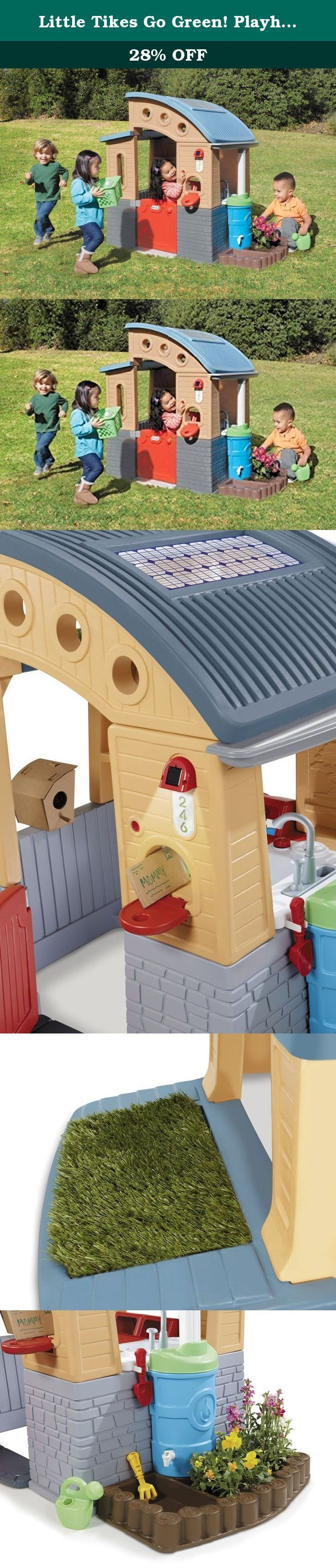 Little Tikes Go Green! Playhouse. Teach your kids about recycling and saving the environment with this toddler clubhouse! Made with 10% recycled plastic, the Go Green! Playhouse is filled with activities that will encourage your child to help his or her environment. The house is equipped with solar panel power energy-efficient LED lights to allow extra light inside. Your little ones will learn about recycling water with both the pump sink and attached rain barrel. The planting box and…