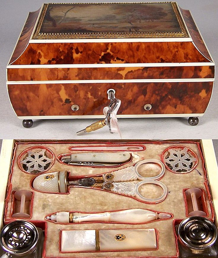 RARE Antique French Palais Royal Music, Sewing Box, 18k Gold, Tortoise Shell & Ivory, Tortoiseshell