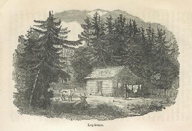 """Log House"" from Catherine Parr Traill's ""The Backwoods of Canada,"" published in 1836."
