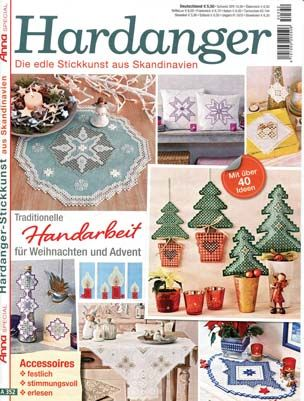 The latest issue of the Special Diana Hardanger is now available! Filled with many Christmas-themed projects, from quick and simple to intricate and elaborate, these projects will leave you with many enjoyable hours of stitching.