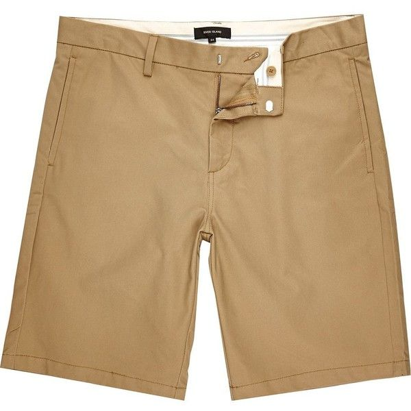 River Island Brown slim chino shorts ($44) ❤ liked on Polyvore featuring men's fashion, men's clothing, men's shorts, shorts, buckle shorts, chino shorts, slim fit shorts, slim shorts and brown shorts