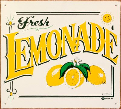 I have this sign, but mine has little magnetic lemons half's on it....... : )