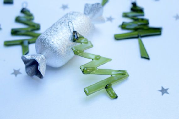 Fused glass Christmas ornament  set of 3 by UrbanGlassStudio