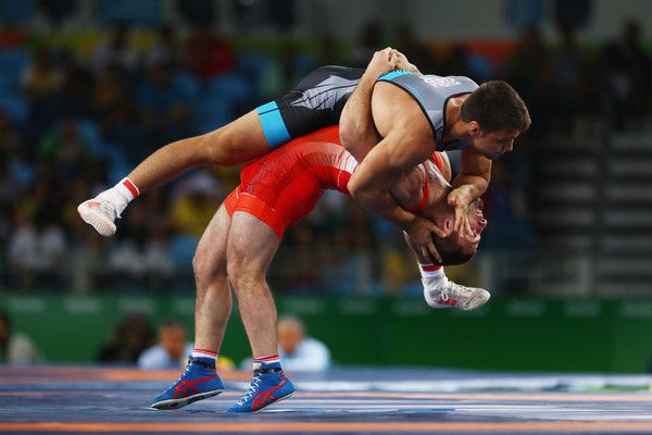 Davit Chakvetadze of Russia and Denis Kudla of Germany compete in the Men's Greco-Roman 85 kg on Day 10 of the Rio 2016 Olympic Games at Carioca Arena 2 on August 15, 2016 in Rio de Janeiro, Brazil. (Aug. 14, 2016 - Source: Ryan Pierse/Getty Images South America)