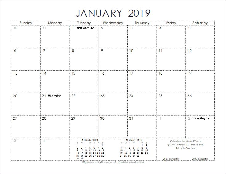 Download The 2019 Ink Saver Calendar From Vertex42 Com