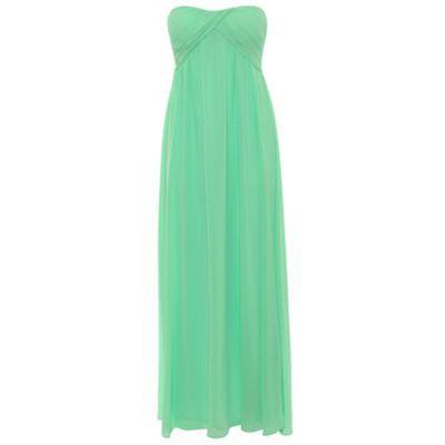 Green ruched bandeau maxi dress at debenhams.com