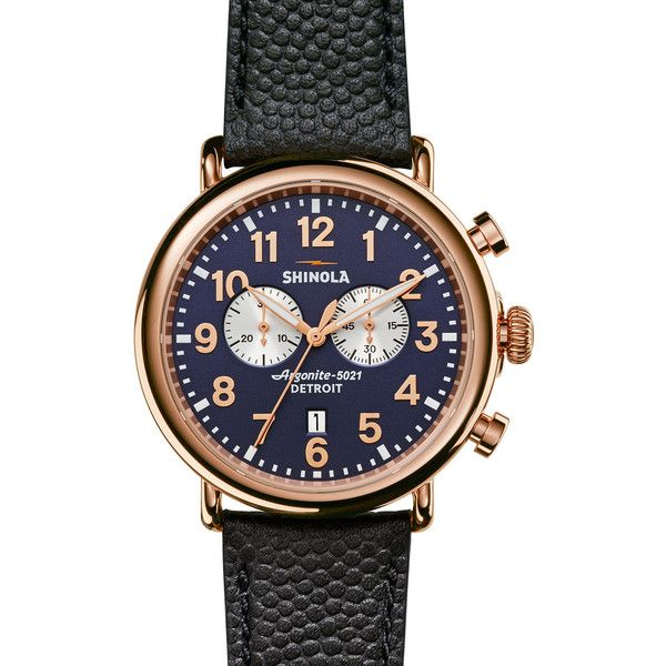 Shinola 47mm Runwell Chronograph Watch (10.650.405 IDR) ❤ liked on Polyvore featuring men's fashion, men's jewelry, men's watches, navy, mens rose gold watches, stainless steel mens watches, men's blue dial watches and mens chronograph watches