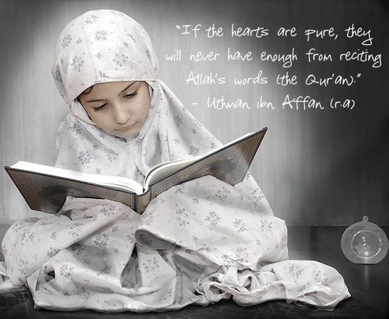 Reciting Allah's Words (Uthman ibn Affan Quote on Photo of Girl Reading Quran)