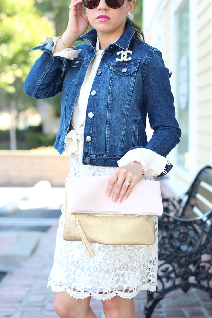 Chanel pearl brooch with denim jean jacket and lace dress // StylishPetite.com | Daily Outfits ...