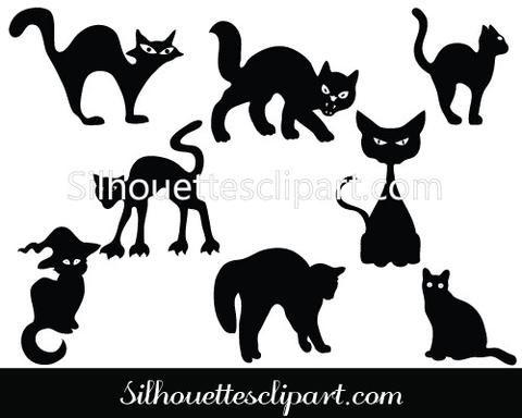Halloween Cat Silhouette Vector Graphics