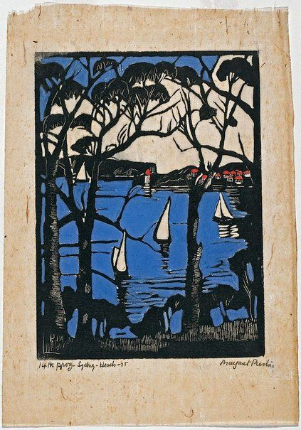 Sydney Heads (2), 1925,  Margaret Preston, hand coloured woodblock print with gouache, 25.1 x 18.1 cm, Art Gallery of NSW.