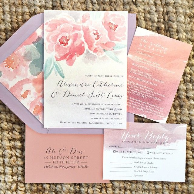 Custom Handpainted Watercolor Wedding Invitations From Tie That Binds In Portland Oregon