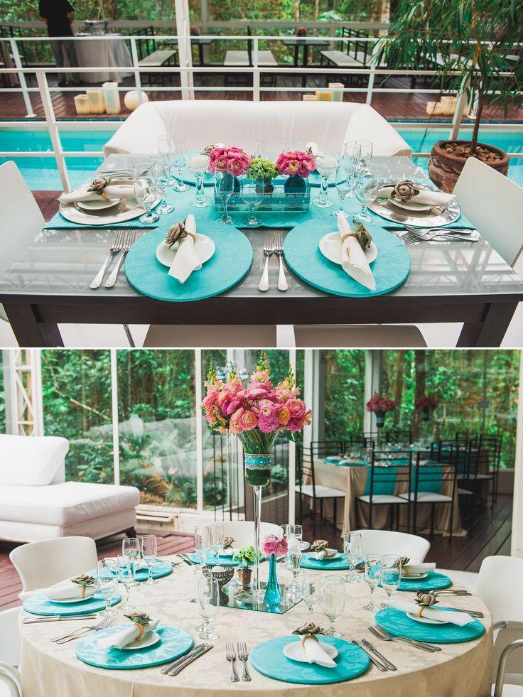 Decoração Azul Tiffany e Rosa Casamento ao Ar Livre