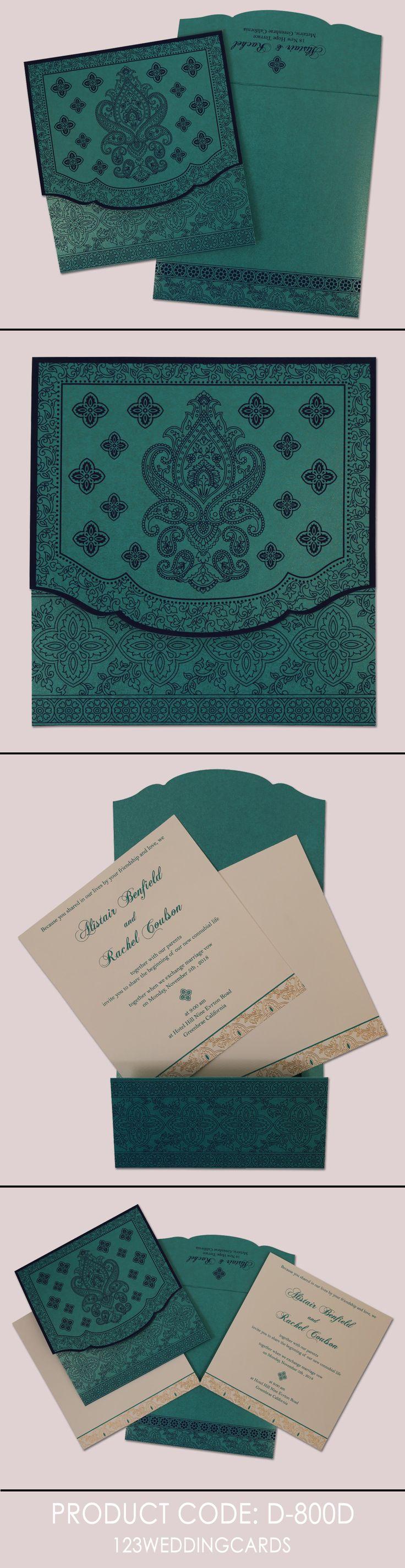 BLUE SHIMMERY SCREEN PRINTED WEDDING INVITATION