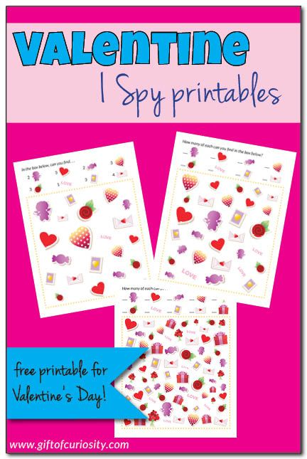 Free Valentine I Spy Printables. What a fun idea to do with the kids this Valentine's Day! || Gift of Curiosity