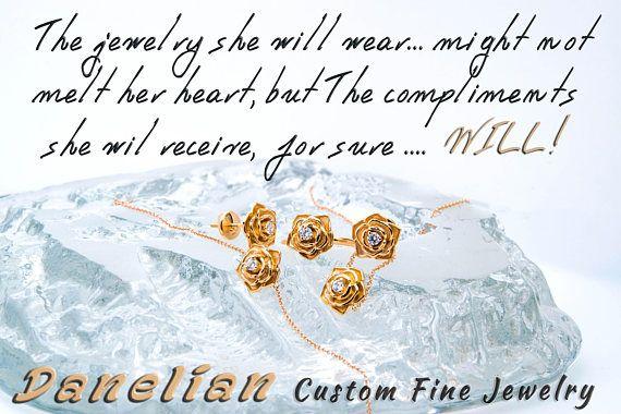 18k Diamond Ring Solid Gold Flower Ring Flower Petal Ring