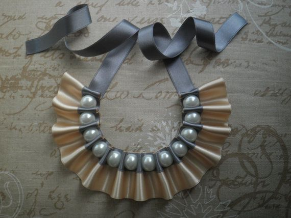 SALE Ribbon necklace, Ivory and Grey ribbon neclace with big white glass pearls
