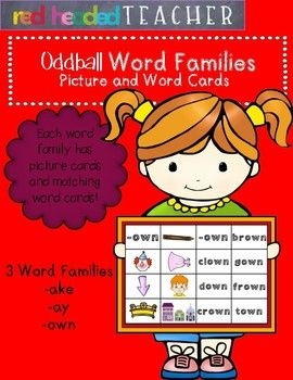 Word Families - Oddball Word Family Picture and Word Cards