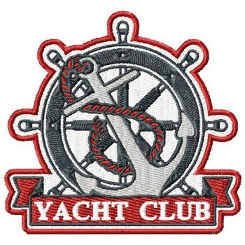 Yacht club emblem machine embroidery design for instant download