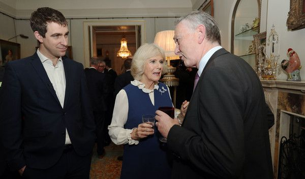 Camilla, Duchess of Cornwall, flanked by Brendan Cox (L) meets Richard Scudamore, Chief Executive of the Premier League, during a reception to launch The Great Get Together at Clarence House on February 22, 2017 in London, England. The Great Get Together will take place over the weekend of June 17 and 18 and is a collaboration between The Big Lunch and the Jo Cox Foundation. Tens of thousands of community get-togethers are being planned across the countr...