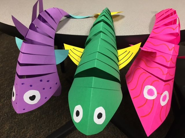 Moving Fish - Uses colored paper, markers, scissors, and glue sticks Idea from http://krokotak.com/2016/07/moving-fish/ (McElligot's Pool by Dr. Seuss)