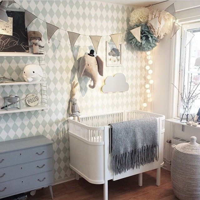 Our Harlequin Wallpaper fits perfectly into this fine and stylish nusery. http://www.fermliving.com/webshop/shop/harlequin-wallpaper-mint.aspx photo credit: Ida @pixistuff
