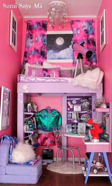 Sami Says AG- American Girl Doll House Bedroom-  Luciana Vega-  Space Galaxy Room #Americangirldolls