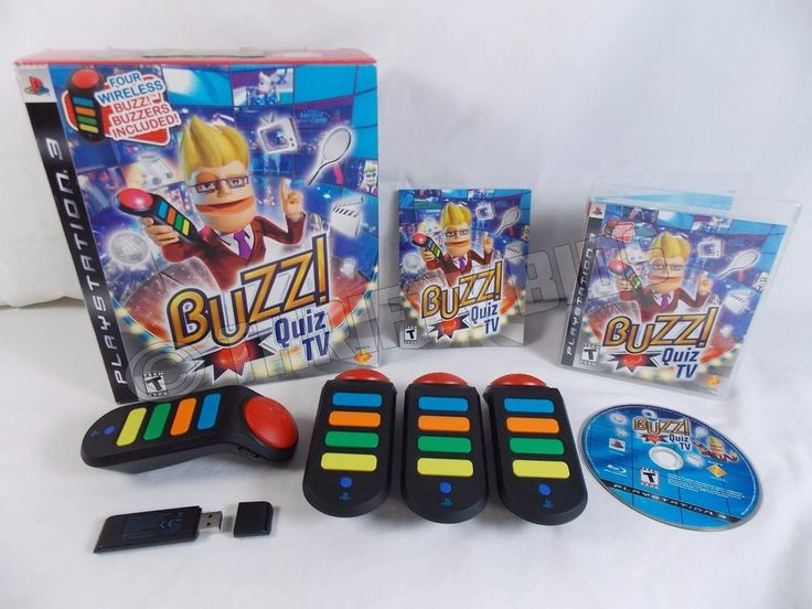 Buzz Quiz TV Game 4 Wireless Buzzers & Dongle PS3 Sony PlayStation 3 Complete