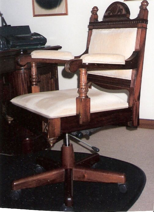 #Vintage #OfficeChair restored with new upholstery, wood treatment and refurbishment of mechanism.