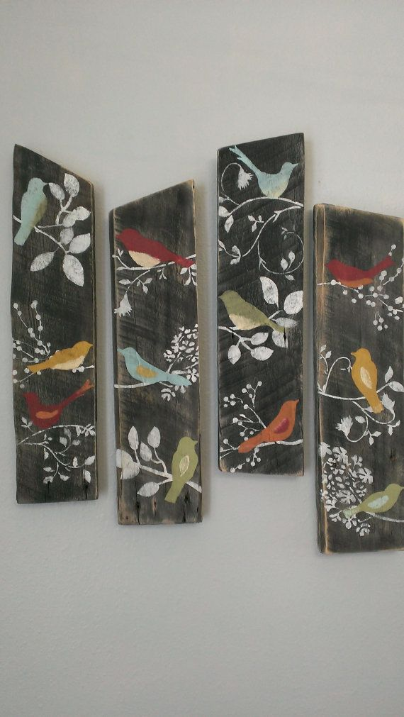4 Bird Wall Decor Country Custom Order Rustic Shabby Chic Sign Barn Board Wood... I could so paint this! easy!