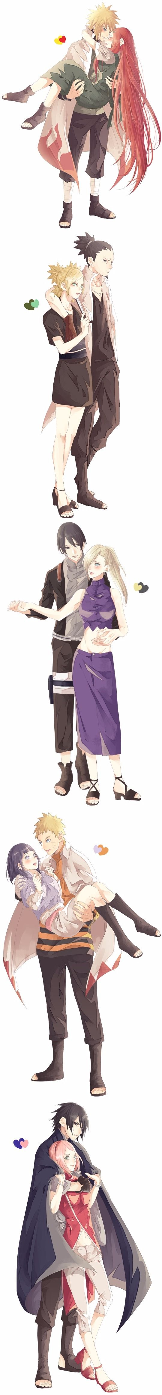 MinaKushi, ShikaTema, SaiIno, NaruHina, SasuSaku #naruto<<<don't ship NaruHina or SaduSaku but still cute