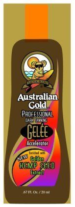 10 Lot Packets Gelee Accelerator W/golden Hemp Seed Extract .67 by Australian Gold. $13.99. 10 lot packets of AUSTRALIAN GOLD Gelee DArk Tanning Accelerator w/ hemp. NEW Enriched with Golden Hemp Seed Extract .67 oz  GREAT FOR ALL TANNERS WANTING A DEEP DARK TAN WITH HEMP.