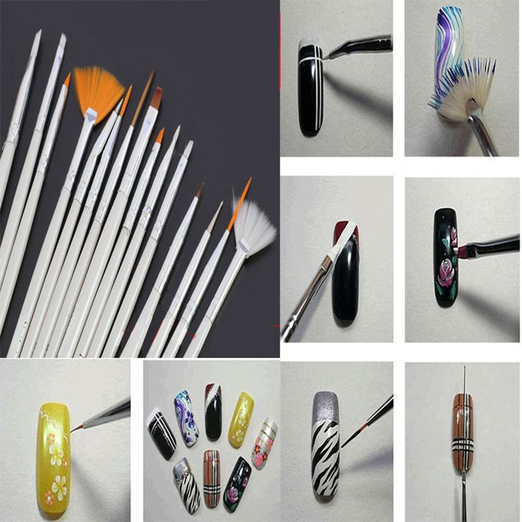 Mileegirl Nail Art Brushes Set,15pcs White Decorations Gel Painting Pen Nail Brush, Professional Nail Equipment Drawing Tool