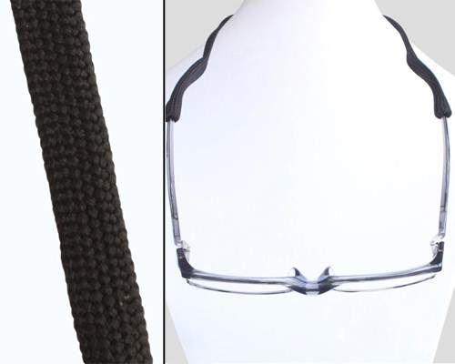 Sport stijl zwart #brillenkoord breed geweven met slip ons voor de brillenpoten en drukknoopsluiting voor eenvoudige aanpassing. Geschikt voor vrijwel alle #brillen.