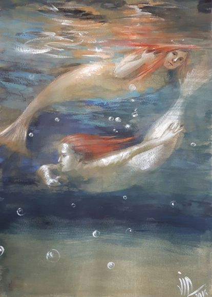 Reflexions.From Naiada serie .Underwater painting.