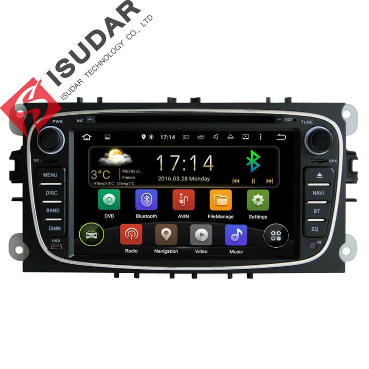 Dua din 7 inch car dvd player android 5.1.1 untuk ford/focus/s-max/mondeo/c-max/galaxy quad core wifi gps navigasi radio fm usb