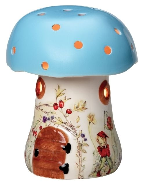 Bramble Toadstool Ceramic Night Light in Blue by white Rabbit England. $85.00.