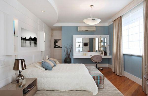 innendesign blau und weiß schlafzimmer ideen dekoideen