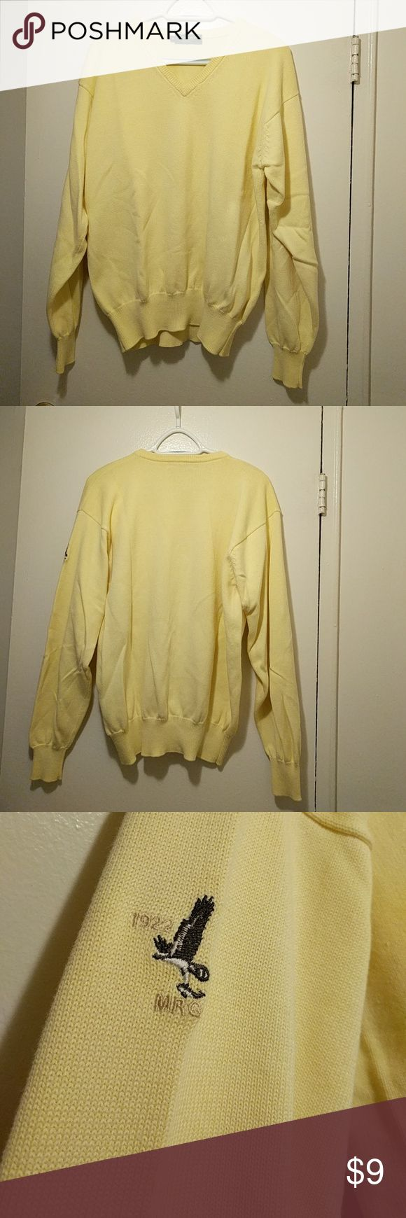 Yellow Men's Sweater Long sleeved V-neck canary yellow sweater with embroidered detail on the outer left sleeve (by bicep). Good condition! No holes or pulls. Looks stellar with khakis! Greenwich Sweaters