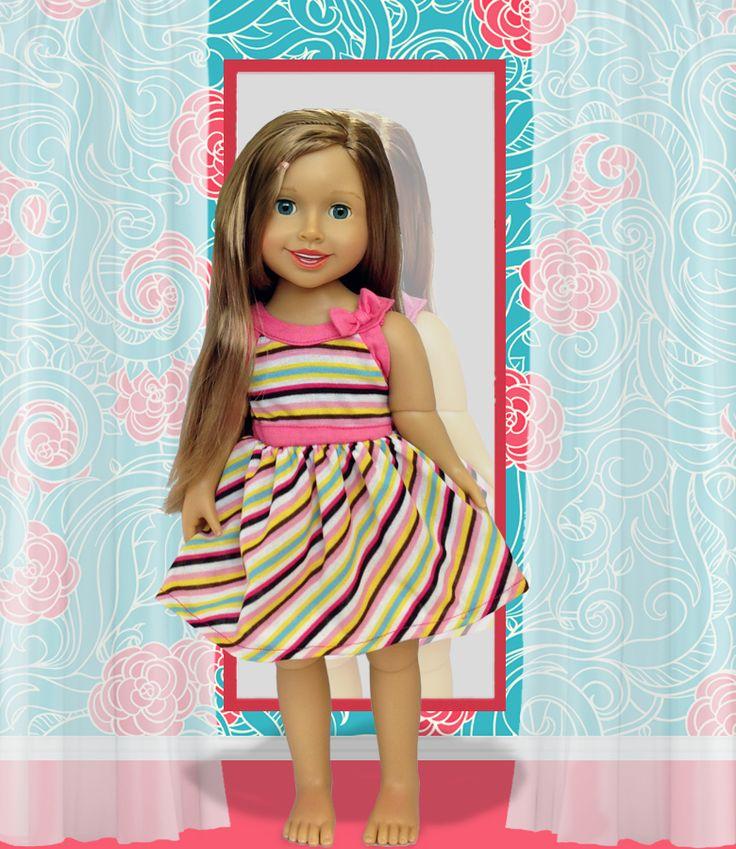Multicolored Stripe Doll Dress fits Alexis Dollfriend