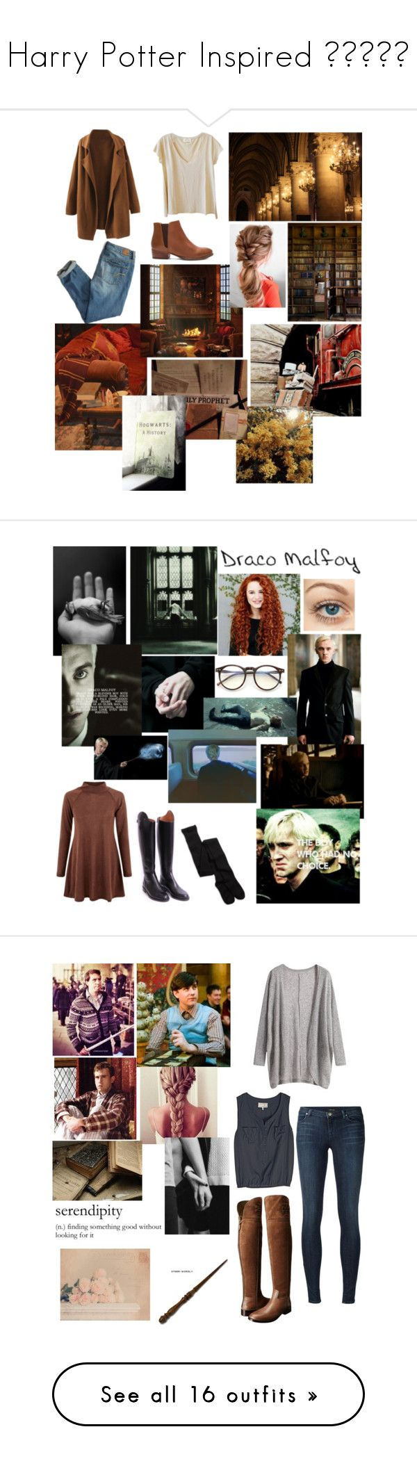 """""""Harry Potter Inspired 😉✍🏻📚📕"""" by alisa-avery ❤ liked on Polyvore featuring American Vintage, American Eagle Outfitters, Seychelles, GET LOST, Converse, New Look, Wildfox, Gucci, Neville and J Brand"""