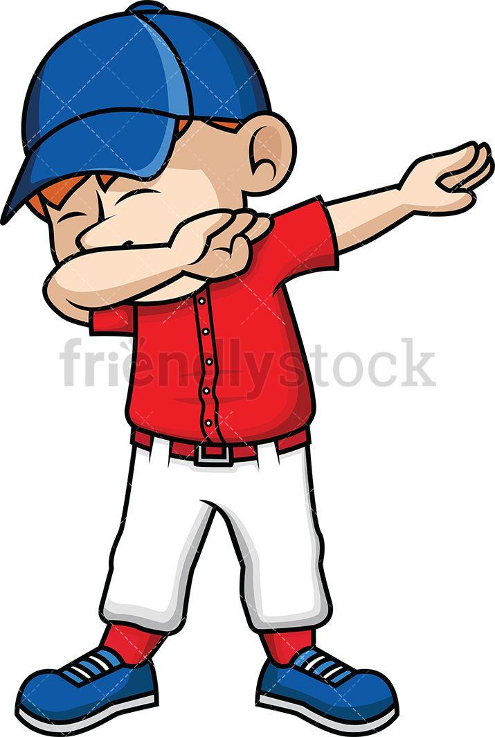 Dabbing Baseball Kid Cartoon Vector Clipart Friendlystock Kids Vector Cartoon Kids Black Kids
