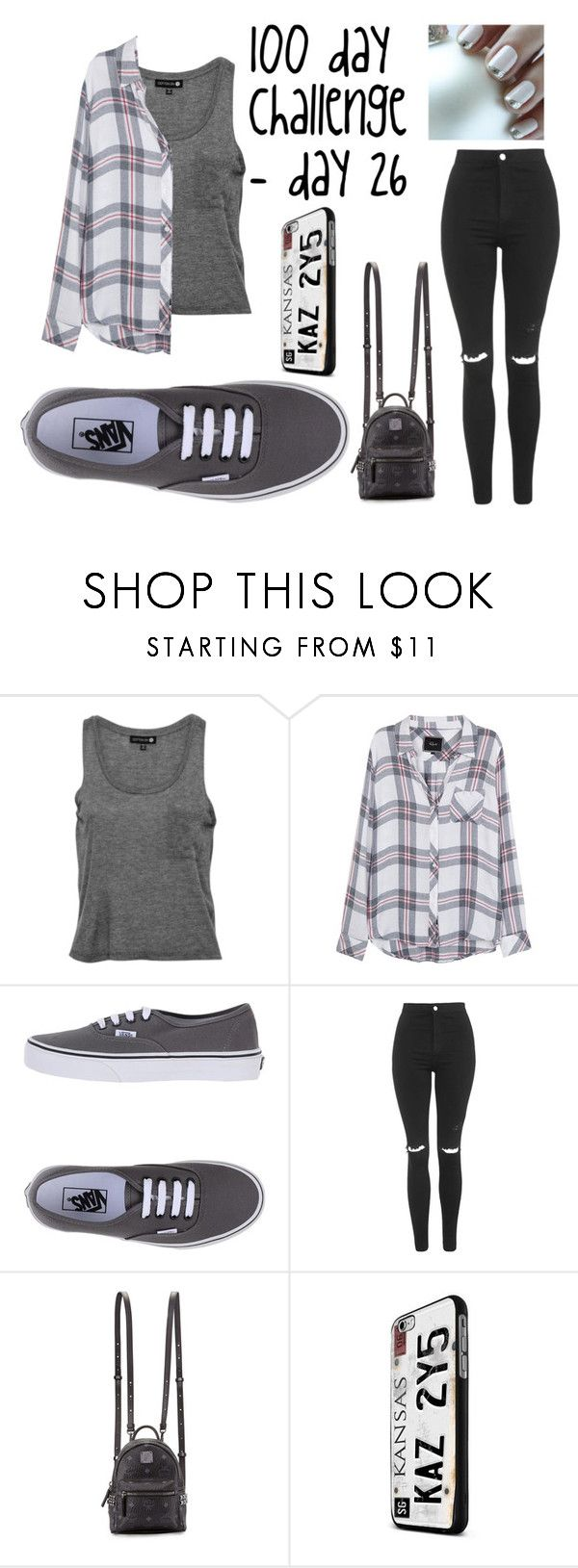 """100 day challenge - Shawn Mendes concert"" by zalaneacoles ❤ liked on Polyvore featuring Rails, Vans, Topshop and MCM"
