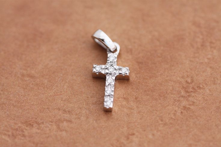 Cross pendant with 0.04 Round Brilliant Cut Diamonds in White Gold, Rose Gold or Yellow Gold / Gold Diamond Cross / Gold Cross necklace by PetrosJewels on Etsy