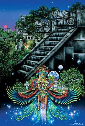 Mito Azteca: Tezcatlipoca rojo, Tezcatlipoca negro, Quetzalcoatl y Huitzilopochtli, los 4 hijos de los primeros dioses, Tonacatecuhtli y Tonacacihuatl, se reunieron para poner orden en el universo, crearon el fuego y también al primer hombre al que llamaron Oxomoco y enviaron a labrar la tierra, después crearon a Cipactónal, la primer mujer a la que mandaron a hilar y tejer.