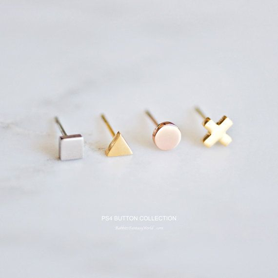 Geometric stud earring SET  - ROSE GOLD - GOLD - STEEL SILVER - - playstation controller button collection -  You will get one set of mix and