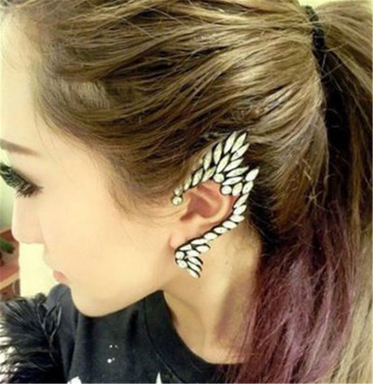 1pcs Right Ear Clip Fashion gem full Rhinestone  Hot Ear Cuff Jewelry Meniscus Silver Plated Clip Earrings Ear Cuffs For Women